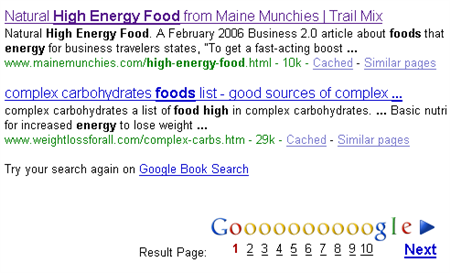 high energy food results on Google